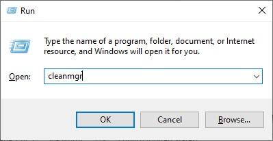 باز کردن Disk Cleanup از منوی run