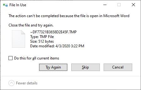 خطای پاک نشدن فایل temp در حال استفاده